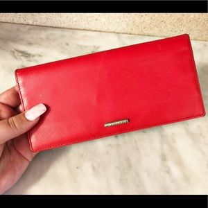 Auth. Givenchy Red Saffiano Leather Vintage Wallet